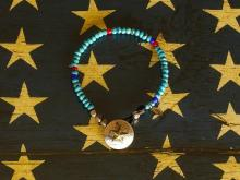 Star Dime Concho Beads Bracelet -Turquoise-