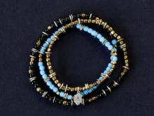 Triple Part Long Beads -Sky-