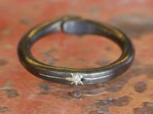 Black Brass Ring With Diamond