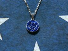Crushed Stone Smile Top with Dichromatic Chain -Lapis-