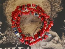 Tumble Stone Long Bracelet -Red Coral-