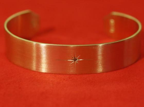 Solid Brass Bangle With Diamond