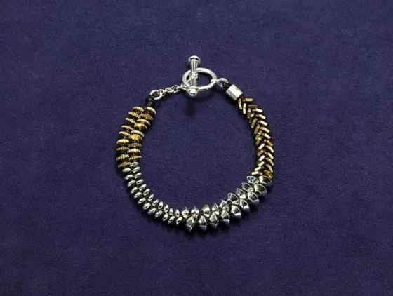 Mixed Metal Wide Bracelet