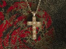 Star Stamped Cross Necklace -large-