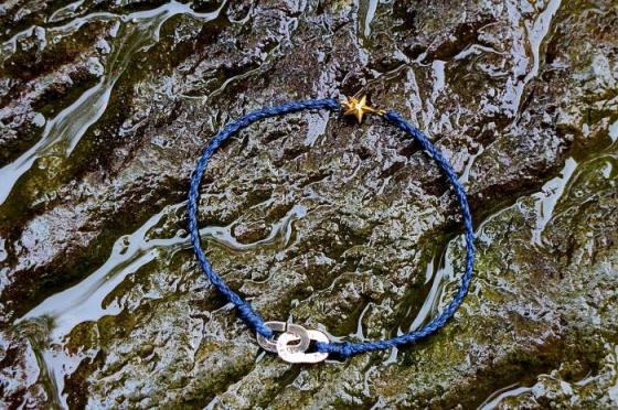 Braid Waxed Cord Anklet -Star&Puzzle-