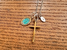 Epoxy Mary & Cross Necklace