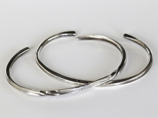 Two Parts Twisted & Hammered Bangles