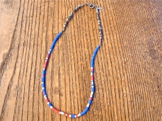 Blue African Disk Beads 3way Choker