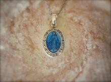 Small Mary Necklace -Blue Epoxy-
