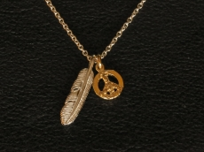 Small Feather & Peace Sign Necklace