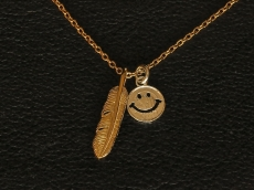 Small Feather & Smile Necklace