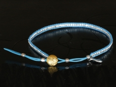 Silver Beads Narrow Wrap Bracelet_blue(Short)