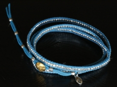Silver Beads Narrow Wrap Bracelet_blue(Long)
