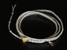 Silver Beads Narrow Wrap Bracelet_white(Long)