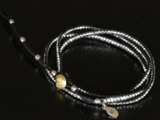 Silver Beads Narrow Wrap Bracelet_black(Long)