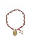 Waxed Cord Maria Bracelet With Brass Cross
