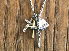 Small Jesus with Silver Cross, Brass Cross