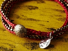 Stitched Seeds Beads Bracelet_RED(Long)
