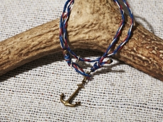 Yacht Rope Bracelet With Brass Anchor