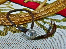 Concho Leather Bracelet_BRN