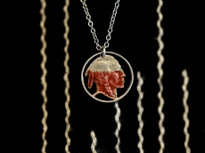 Red Native American Coin Necklace
